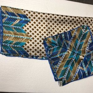 "Vera 100% Silk 29"" Square Blue And Gold Scarf"